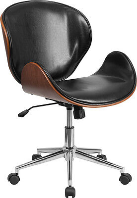 Mid-back Walnut Wood Swivel Conference Chair In Black Leather - Office Chair