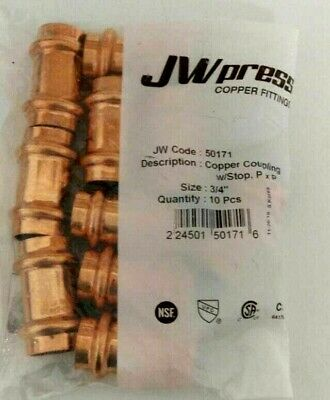 Lot Of 10 34 Propress Copper Coupling Lead Free Free Shipping