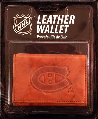 Montreal Canadiens NHL Embossed Leather Trifold Wallet Montreal Canadiens Leather
