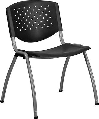 Heavy Duty Black Plastic Office Guest Chair - Waiting Room Chair - Office Chair