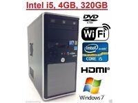 7 SKY WINDOWS 7 PRO FAST VIGLEN TOWER COMPUTER PC INTEL CORE i5 4GB 320GB FREE WIFI