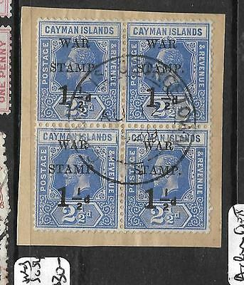 CAYMAN ISLANDS  (P1109B) KGV WAR TAX SG 54 BL OF 4 ON PIECE VFU