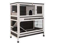 2 storey large 2 levels suitable for 2 rabbits or 2 guinea Pigs wooden indoor rabbit hutch cage