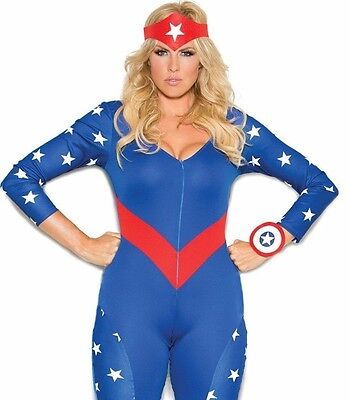 Captain America Costume 3X/4X Women Plus Sexy Cosplay Superhero Marvel Halloween