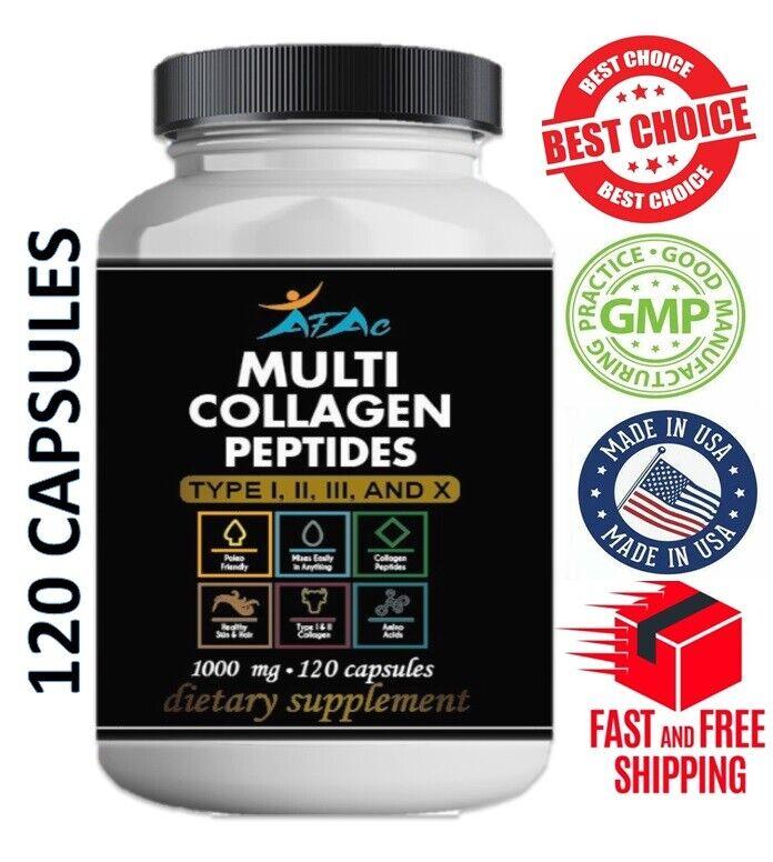 Multi Collagen Peptide protein 120 Caps 100o mg Type I,II,III,X Anti-Aging keto  2