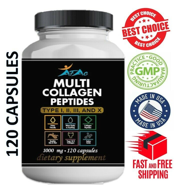 Premium Collagen Peptides 120 capsules  Hydrolyzed Anti-Aging Protein Powder cap
