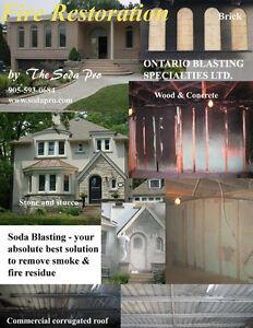 Fire & Smoke Damage Residue Removal by Soda Blasting