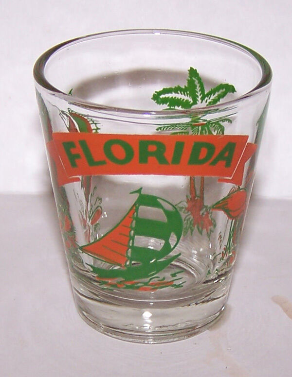 Vintage Souvenir FLORIDA SHOT GLASS Sailboat Flamingo Palm Tree Swordfish Marlin