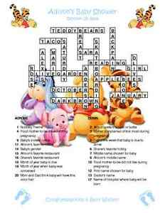 Pooh tigger custom crossword baby shower puzzles for Backyard party decoration crossword