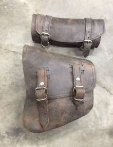 Custom distressed brown leather bags by La Rosa Design