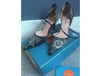 Karen Millen Black Satin Embroidered Floral Shoes With Diamantés - UK 5 - RRP £120