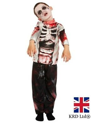Boys ZOMBIE Kids Gothic Ghost Skeleton Bride Costume Fancy Dress Halloween UK