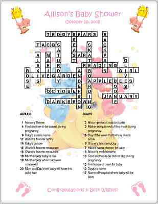 Care Bears Custom Crossword Baby Shower Puzzles - Care Bear Baby Shower