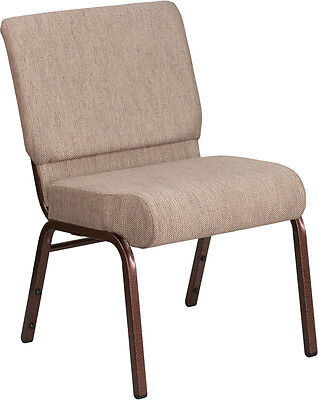 Lot Of 50 21 Extra Wide Beige Fabric Stacking Church Chair- Copper Vein Frame