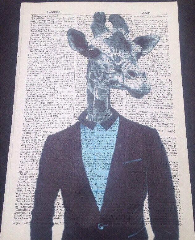 Giraffe druck vintage w rterbuch seite wandkunst bild - Hipster anzug ...