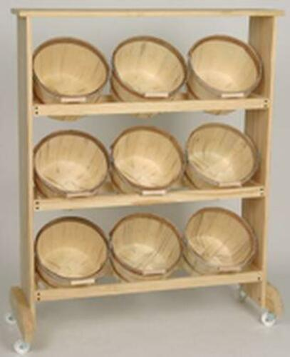 Display Rack w/ 9 One Peck Natural Basket w/ bale Handle. 3 day 4 shipping