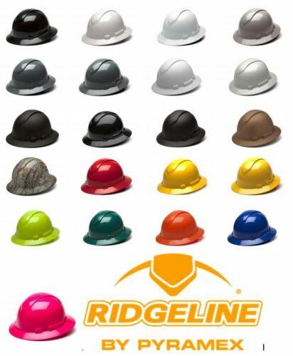 Pyramex Ridgeline multiple color options Full Brim Hard Hat W/4 Pt Ratchet Susp