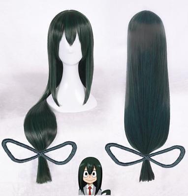 Tsuyu Asui Wig Anime My Hero Academia 80 Long Green Mixed Cosplay Hair Wigs US