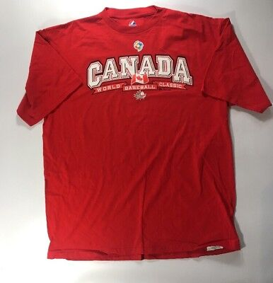 2009 World Baseball Classic Canada Majestic Red T-Shirt XL New
