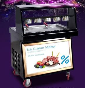 Commercial Ice Cream Roll Maker Fried Ice Cream Machine for Fruit,Ice,Milk,Yogurt 110V 220384