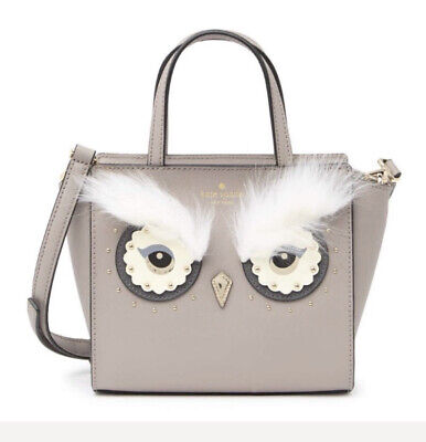 NWT KATE SPADE Star Bright Owl MINI HADLEE Satchel Gray Cityscape Leather - $329