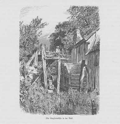Ratzeburg Alte Kupfermühle HOLZSTICH von 1880 Mühle Wassermühle
