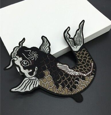 Fish Embroidered Patches Iron on or Sewing best for Clothes Applique
