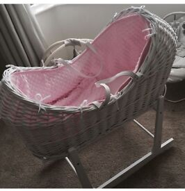 Clair de Lune White Pod Moses basket with stand - pink removable lining