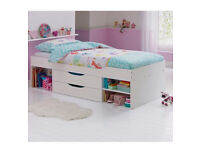 Beautiful white wooden cabin bed