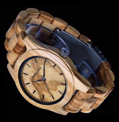 Excellanc Damen Armband Uhr Echt Oliven - Holz Holzuhr Braun Wooden Watch H1