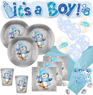 67 Teile Baby Shower Party Deko Set Pinguin Junge in Hellblau und Silber 16 Pers