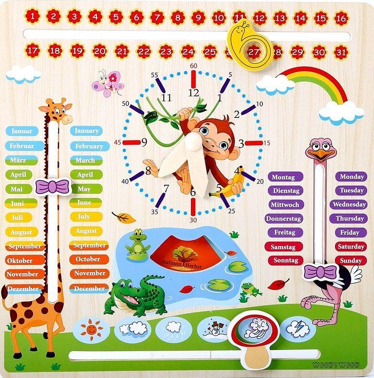 WoodyWood Holz Kalenderuhr Kinder Lernuhr Datum Wochentage Monate Jahreszeiten