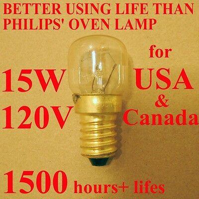 (WSDCN E14 T22 15W 120V 110V~130V Oven Bulb Oven Lamp Heat Resistant Bulb 300'C)