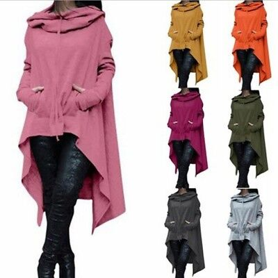 Women Draw Cord Coat Long Sleeve Loose Poncho Coat Hooded Pullover Long -