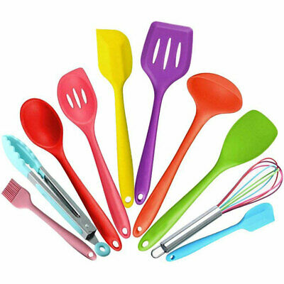 10pc Colour Cooking Kitchen Utensil Set Heat Resistant Silicone Soft Grip Handle
