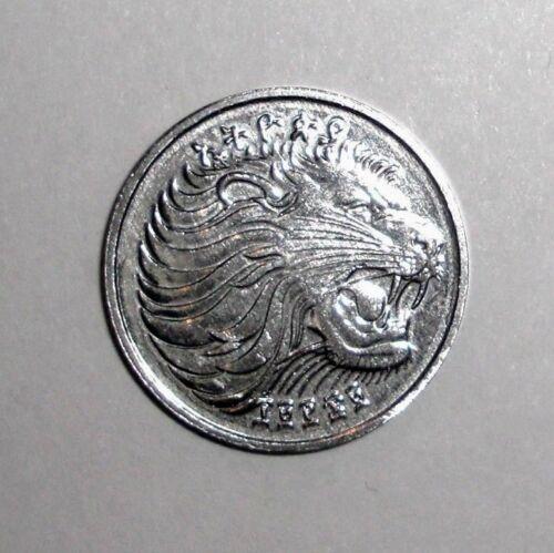 1969 Ethiopia 1 cent, Lion cat, animal wildlife coin