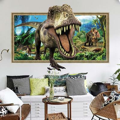 NEW 3D dinosaur T rex Removable Wall Stickers Decal Kids bed room Home Decor USA - Dinosaur Stickers