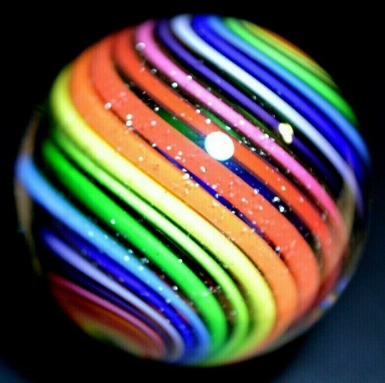 """EDDIE SEESE GLASS MARBLE/1.486""""-RAINBOW DICHROIC DT-BRIGHT YELLOW,LILAC,CHERRY+"""