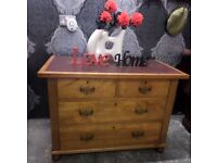 Beautiful Vintage Leather Top Chest of Drawers - Delivery Available