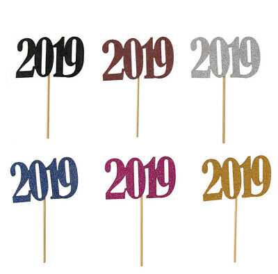10pcs Number 2019 Cake Toppers Cake Picks Decorations for Anniversary Graduation