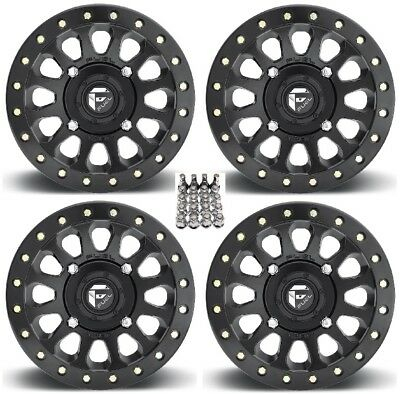"Fuel Vector Beadlock ATV Wheels Black 14"" Sportsman 550 850 1000"