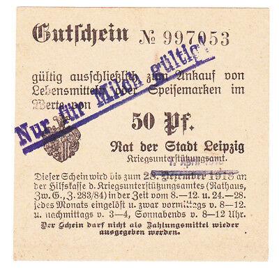 Bezugsmarke Leipzig Kriegsunterstützungsamt 50 Pf. für Milch bis 1. April 1919