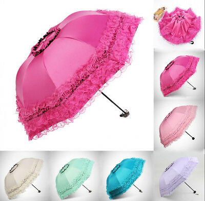 (Lolita Girls Parasol Sun Rain Women Princess Lace Anti-UV 3 Folding Umbrella )