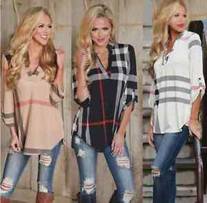 NEW-Womens-Blouse-Striped-Plaid-Long-Sleeve-Ladies-Top-T-Shirt-Loose-Casual-Tops