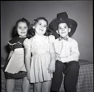 Cute Kids Little Girls and Boy in Big Pilgrim Hat Vintage 1950s Negative Photo