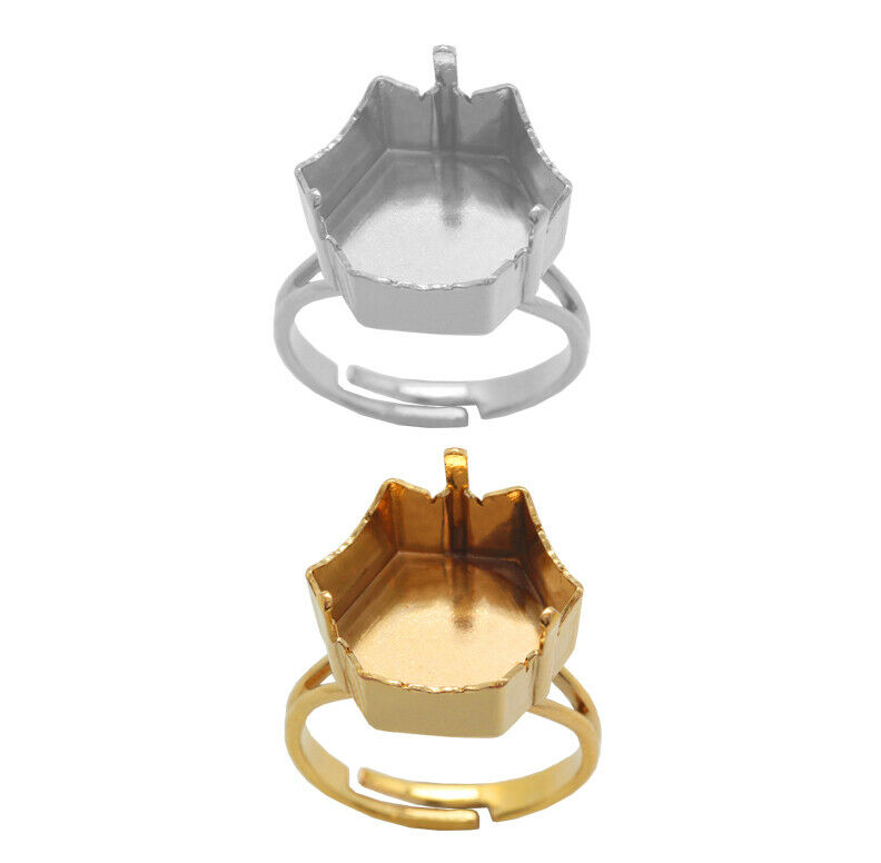 Brass Adjustable Ring Bases for 4699 Kaleidoscope Hexagon 14x16mm Fancy Crystals