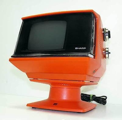 Space Age Retro Cool Sharp 3S-111R Television TV ~ Orange ~ Works ~ VGC!