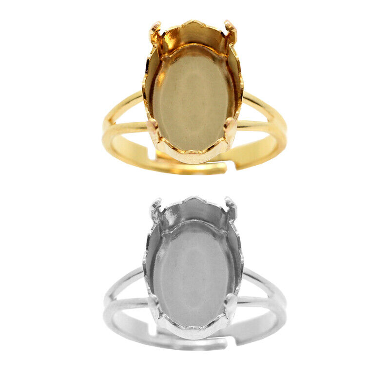 Brass Adjustable Ring Bases for 4160 Mystic Oval Fancy Stones Crystals 14mm