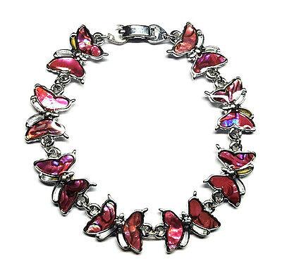 Genuine Paua Sea Shell Pink Butterfly Bracelet (Genuine Paua Shell)