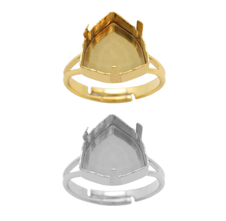 Brass Adjustable Ring Bases for 4706 Trilliant 12mm Crystals * Choose Color